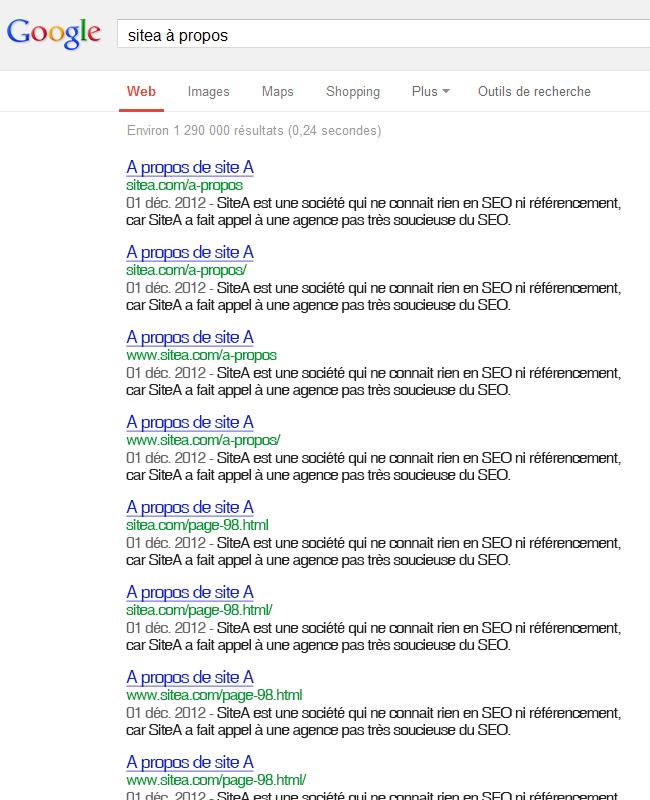 Exemple de duplicate content - contenu dupliqué